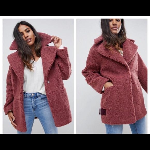 multiple colors unique design popular stores ASOS Jackets & Coats | Design Teddy Borg Shearling Biker Jacket ...